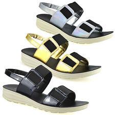 Ladies Womens Low Wedge Heel Comfort Walking Slingback Summer Sandals Shoes Size