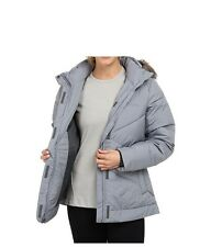 COLUMBIA Women Winter Hooded Down Insulated Jacket Coat M ski Gray New
