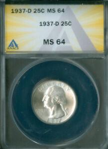 1937-D Washington Quarter Dollar ANACS MS-64 FREE S/H (2127074)