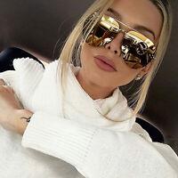 Oversized Aviator Champagne Gold Mirrored Retro Vintage Sunglasses Women Fashion