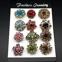 12pc/lot Mixed Vintage Style Gold Rhineston Crystal Brooches Pins DIY Bouquet