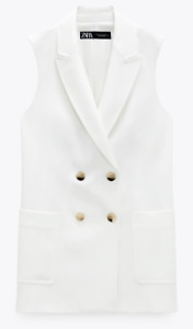 ZARA WOMAN NWT SS21 DOUBLE BREASTED VEST WITH PATCH POCKETS ALL SIZES 2962/295