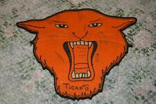 "Large Vintage Tiger Head Felt Patch 9 3/4"" by 7 1/2"""
