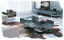 Lola 3 Piece Black Mirrored TV Unit,  Coffee and Lamp Tables Combo - BRAND NEW