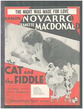 CAT AND THE FIDDLE 1934 Night Was Made For Love NOVARRO/MacDONALD Sheet Music