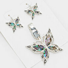 Butterfly Pendant Earrings SET Texture Metal SILVER ABALONE SHELL Beach Jewelry