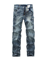 FOX JEANS Men's Allen Standar Fit Straight Blue Denim Jeans SIZE32-44