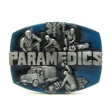 Rescue Trades Paramedics EMT Belt Buckle Medic Commemorative Pewter Mens Leather