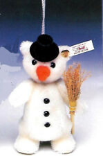 "STEIFF ""MINI SNOWMAN ORNAMENT"" EAN 665592  WHITE MOHAIR W/BROOMSTICK 5 1/4"""