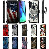 For Motorola Moto G Stylus (2020) Rugged Hybrid Kickstand Holster Belt Clip Case