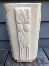 Vintage McCoy Owl Vase Art Deco White Glossy Rare