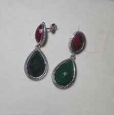 Ohrstecker Echtschmuck Silber 925 Harry Ivens IV Tropfen Smaragd und oval Rubin