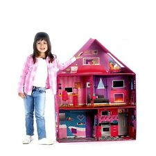 Modern Pink Barbie Dream House Dollhouse Play Room Set Girls Miniature Doll Toy