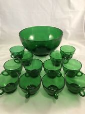 Anchor Hocking Forest Green Punch Bowl Set w/12 Cups