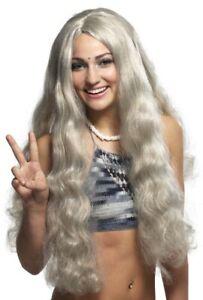 Hippie Hippy Blonde Grey 70s 60s Men Women Costume Wig