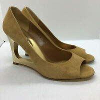 Lisa Kay Womens Size 38.5 Suede Effect Brown Gold Wedge Peep Toe Shoe Ladies