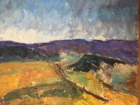 Peinture Hst Huile Sur Toile Paysage De Provence  Signature À Identifier 1960