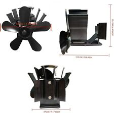 Heat Powered Stove Fan w/Thermometer Aluminium Quiet for Wood Heat Distribution