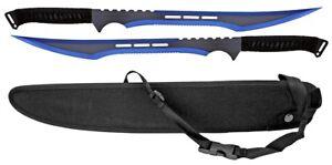 "2pc 27"" Dual Weld Twin Master Sword Machete Set w/ Nylon Sheath 440 Steel Blue"