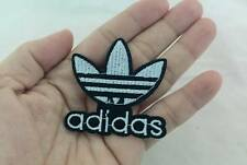ADIDAS LOGO IRON ON PATCH T-SHIRT JEANS CAP 5X5 CM. EMBROIDERED WHITE ON BLACK