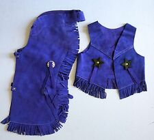 Colorful Suede Youth Size Western Cowboy Chaps & Vest Costume  Set