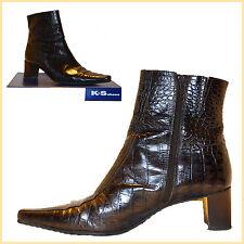 Stiefeletten Damen K+Schoes Absatz 5cm EU-38 2/3 Echtleder Braun Kroko-Look