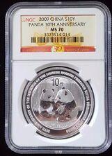 2009 China Silver Panda 1 oz ~ NGC MS 70 ~ 30th Anniversary Commemorative Coin