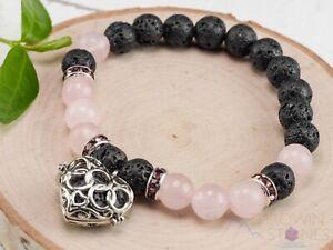 ROSE QUARTZ & LAVA Crystal Bracelet - Heart Charm, Round Beads, Diffuser, E0981