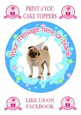 ND5 Blue Pug Birthday personalised round cake topper icing