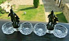 Vtg.Pair Crystal Clear Glass Salt & Pepper Shaker Holder w / Pewter Figures