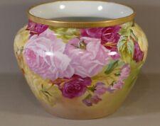 Cache Pot Aux Roses Et Pois De Senteur, Peint à La Main, Limoges, Début XX ème