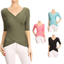 NE PEOPLE Women's Casual Elbow Sleeved Fitted Ribbed Wrap Top S-3XL [NEWT285]