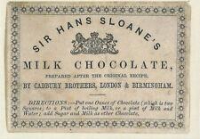 Postcard Natural History Museum London Sloane's Cadbury's Hot Chocolate Recipe