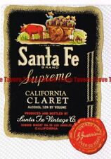 Unused 1940s CALIFORNIA Los Angeles SANTA FE SUPREME CLARET WINE Label