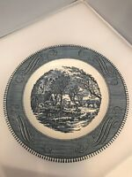 """Currier & Ives - The Old Grist Mill - 10"""" dinner plate BLUE WHITE"""