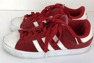 Adidas Mens 9.5 Red & White Sneakers Suede Leather 791002 Classic Retro 2009
