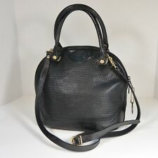 Vintage OROTON Handbag Satchel Crossbody Top Handle Bag Domed Bowler BLACK