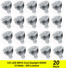20 x Quality LED Downlight Globes Bulbs Lamps 12W MR16 12V AC/DC Cool Daylight