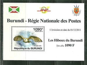 BURUNDI 877 MNH SOUVENIR SHEET OWLS; TYTO ALBA SCV 3.75