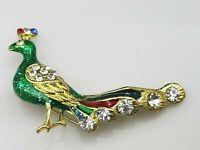 Vintage Peacock Bird Rhinestone Green Enamel Figural Brooch Pin Gold Tone Metal