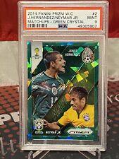 2014 World Cup Prizm Matchups Green Crystal Neymar Javier Hernandez #16/25 PSA 9