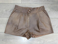 "Vintage Brown Leather BLUE RINSE High Waist Hot Pants Shorts Size W31"" L1"""