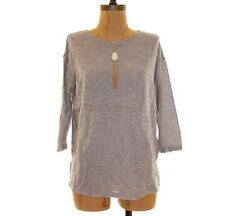 Soft Joie Valco Top Size S Perforated Knit Boat Neck 3/4 Slv Gray $108 EUC  B95