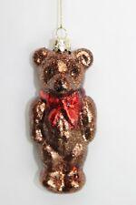 GISELA GRAHAM CHRISTMAS GLASS NOSTALGIC BROWN GLITTER TEDDY BEAR DECORATION