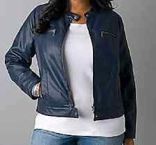 Lane Bryant Dark Water Blue faux leather stitched motorcycle jacket 14/16