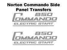 Norton Commando 850 Electric Start Side Panel Transfers Decals Motorcycle Silver