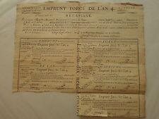 PLANCHE de 5 bons d'EMPRUNT FORCE de 20 Francs l'an IV commune de TOURS