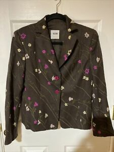 Moschino Cheap and Chic Italy 100% Wool Jacket Tweed Floral Blazer Size 10