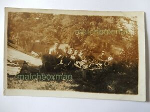 VINTAGE WORLD WAR ONE ERA REAL-PHOTOGRAPH POSTCARD SOLDIERS RELAXING F808/26