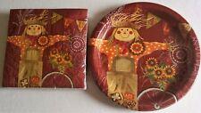 FALL Paper Plates & Napkins  WOODGRAIN SCARECROW
